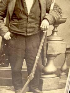 19th Century CDV of John L Burns Rifle Gun New York Photographer Antique Photo