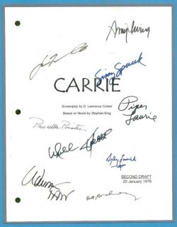 Carrie Movie Script Signed by 9x rpt Sissy Spacek John Travolta Piper Laurie
