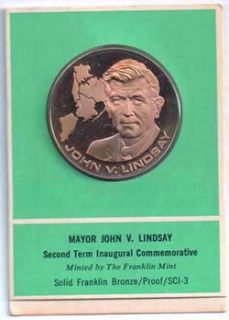 UNC NEW YORK MAYOR JOHN LINDSAY PROOF FRANKLIN MINT MEDAL L K