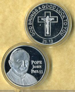 POPE JOHN PAUL II SILVER COIN GOOD LUCK NEW BH