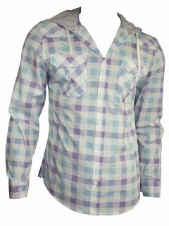 Mens Casual John Tungatt Designer Lilac Blue Check Hooded Shirt Large
