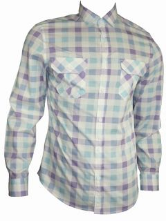 Mens Casual John Tungatt Designer Lilac Blue Check Shirt Medium