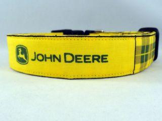 Bright Yellow and Green Plaid John Deere Dog Collar