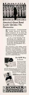 1927 Ad Hohner Harmonicas Musical Instrument Composer John Philip Sousa Boy Band