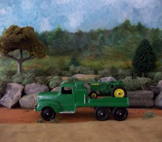 Tootsie Toy Mack Truck with John Deere Tractor Log Load Great Christmas Gift