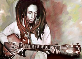 BOB MARLEY cd reggae guitar painting CANVAS ART GICLEE PRINT Small