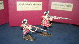 John jenkins QB 22 BRITISH LINE INFANTRY FIRING 2 PC SET RETIRED