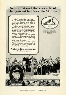 1921 Ad Victor Talking Machine Victrola Records Sousa Band Conductor Orchestra