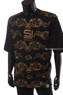 New Sean John mens round neck sj initial graphic t shirt tee black size XL
