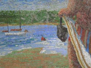 MALCOLM HITCHCOCK large POINTILLIST MODERN naive British School Oil Painting