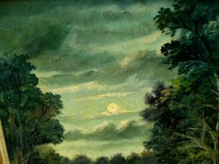 Listed John Reed Campbell Antique Moon Oil Painting 40s
