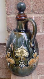 RARE Antique Royal Doulton Green Art Nouveau Style Whiskey Flask Flagon Jug