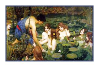 John William Waterhouse Hylas Nymphs Greek Mythology Counted Cross Stitch Chart