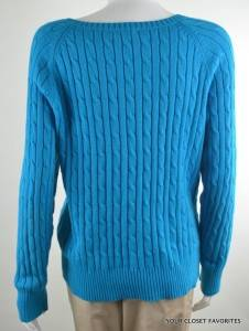 St John's Bay Women's Cable Knit Sweater Size Medium 8 10 Teal Blue Boat Neck