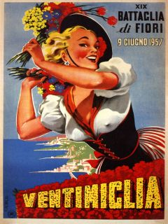 Beauty Italian Girl Flowers 1957 Ventimiglia Italy Vintage Poster Repo Free s H