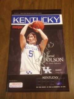 Kentucky Wildcats Basketball Jarrod Polson Auto Game Program Silver Bold