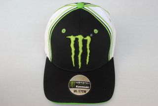 New Monster Energy Kawasaki Hat Black White Stretch Fitted Cap M L L XL