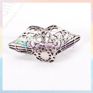 Punk Gothic Hollow Hollowed Hinge Filigree Flower Joint Full Finger Armor Ring