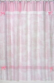 JoJo Designs Pink French Toile Chenille Shower Curtain