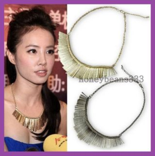 Jolin Tsai Metal Black Silver Gold Tone Fringe Costume Collar Bib Necklace N2