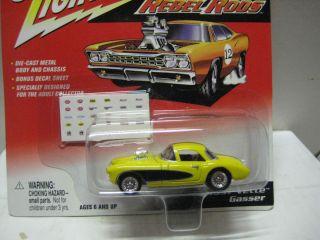 Johnny Lightning Rebel Rods Mint on Card 57 Vette Gasser in Yellow