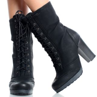 Black Oxford Lace Up Women Platform Chunky High Heel Ankle Boots Size 8 5