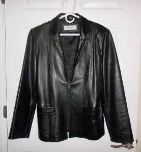 Jones New York Black Leather Jacket Size L Large Excellent Very Soft