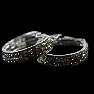 Super Star Jolin Favorite Fashion Rhinestone Alloy Hoop Stud Piercing Earrings
