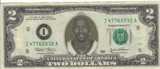 Chicago Bulls Michael Jordan $2 Dollar Bill Mint RARE $1 Wizards