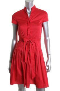 Jones New York NEW Red Pleated Mandarin Neck Wear to Work Dress Petites 2P BHFO