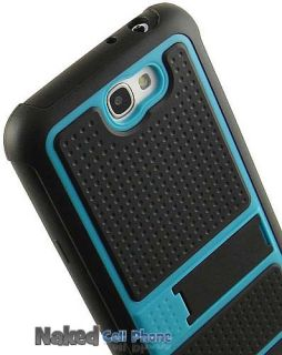 Teal Blue Black Jolt Case Rugged TPU Hard Cover Stand for Samsung Galaxy Note 2