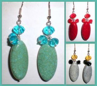 Crystal Bead Colored Turquoise Dangle Earrings U Pick Color