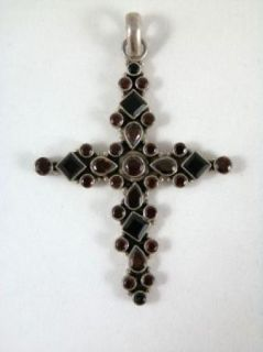 Large Vintage 925 Sterling Silver Rhinestone Crucifix Cross Pendant 3""