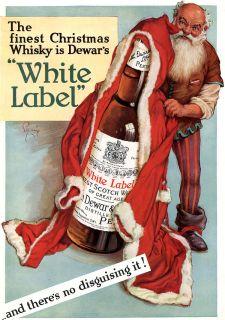 Santa Claus Christmas Dewar White Label Whisky Large 1937 Magazine Ad Original