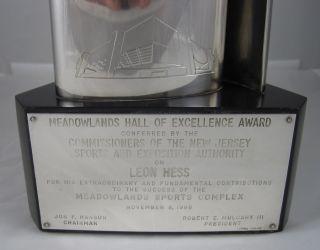 1986 New York Jets NFL Football Meadowlands Sterling Trophy Leon Hess Oil Vitali