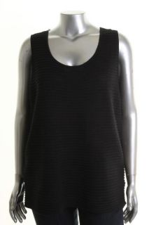 Jones New York NEW Black Ribbed Sleeveless Scoop Neck Pullover Sweater Plus 2X