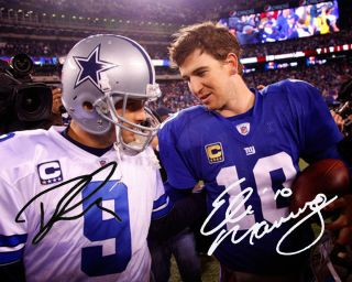 ELI MANNING TONY ROMO NY GIANTS COWBOYS DALLAS 8X10 PHOTO SIGNED AUTOGRAPHED RP