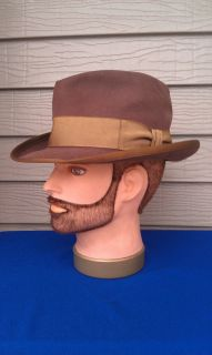 Vtg Royal Stetson Whippet Fedora Hat Brown Indiana Jones 7 Very Nice