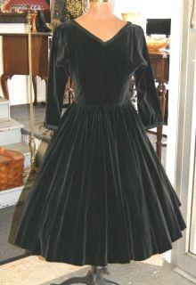 Vintage 50's Black Velvet Rockabilly Swing Dress Jonathan Logan Size 8