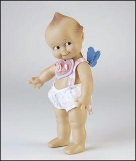 Flying Kewpie 8 inch Cherub Vinyl Doll w Wings Heart Romper New Rose O'Neill
