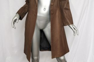 Joseph Womens Long Grey Brown Luxe Fitted Knee Length Leather Jacket Coat s 38