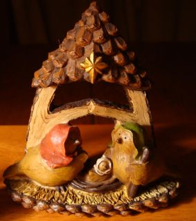 SNOW BIRD PEACE NATIVITY SET Christmas Cabin Country Primitive Lodge Home Decor