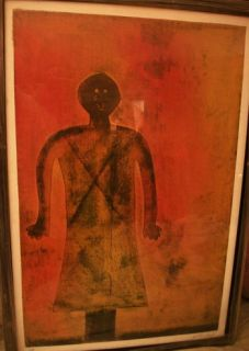 RUFINO TAMAYO MIXOGRAPH LARGE FORMAT FRAMED STANDING GIRL