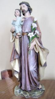 St Joseph and Child Catholic Statue Home Chapel Figurine