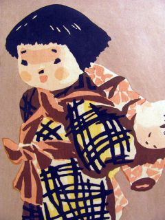 Signed Kijoshi Saito Woodblock Print Young Girl w Doll Signed
