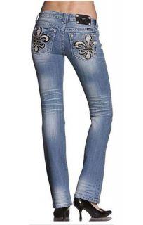 NWT Miss Me Size 28 Fleur de Lis Boot Cut Lowrise Stretch Jeans JP6099B