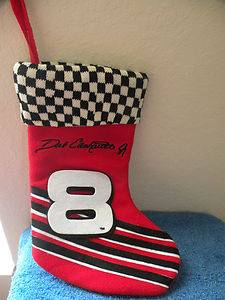 NWOT Dale Ernhardt Jr 3 Christmas Stocking Racing Stripes Checkered Flag