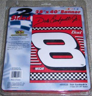 "Dale Earnhardt Jr 8 NASCAR Flag 28""x40"" Double Sided Banner Bud Racing"
