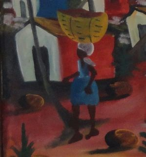 Nicolas Joseph Primitive Haitian Art Village Fantastic Naive Oil Painting Canvas
