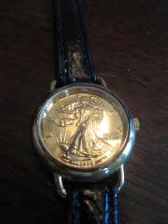 Beautiful Practical Elegant 999 Gold Plated Walking Liberty Wristwatch
